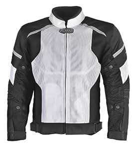 Pilot Men's Direct Air Mesh Motorcycle Jacket (White/Black, X-Large)