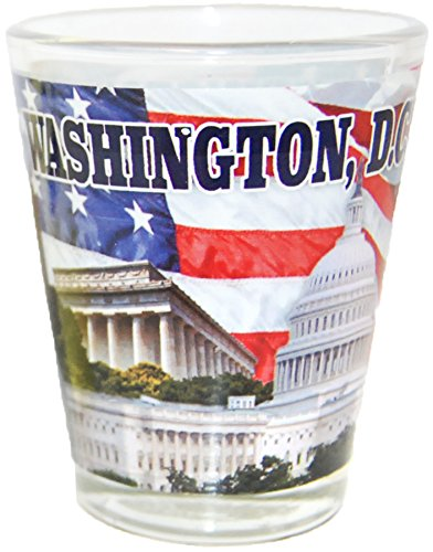 Washington D.C. Famous Capitol Buildings Design Souvenir Shot Glass- Featuring American Flag - Washington Dc Capitol Building