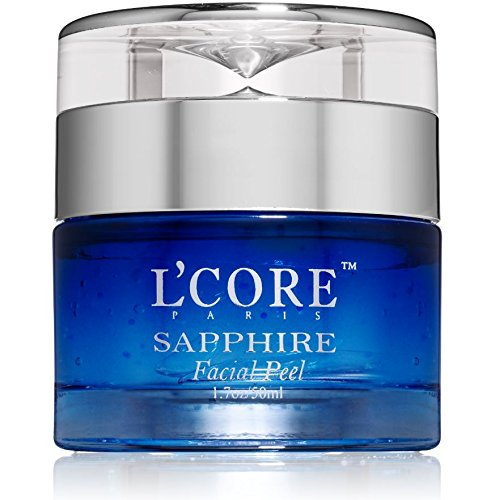 L'Core Paris Sapphire Facial Peel with Organic Extracts - Anti Aging Facial Peeling Gel Infused with Minerals and Real Sapphire Dust - 1.7oz/50ml