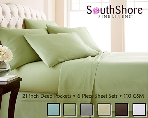 Southshore Fine Linens 6 Piece - Extra Deep Pocket Sheet Set - SAGE Green - Queen ()