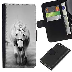 EJOY---La carpeta del tirón la caja de cuero de alta calidad de la PU Caso protector / Apple Iphone 5C / --El B & W White Horse