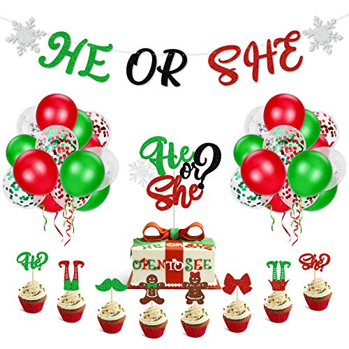 Christmas Gender Reveal Party Decorations He Or She Banner Elf Snowflake Cake Topper Winter Holiday December Boy Or Girl Baby Shower Red Green Latex Balloons (Reveal Christmas Baby)