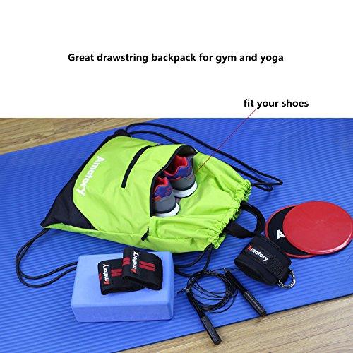 Drawstring Backpack Sports Gym String Bag Cinch Sack Gymsack Sackpack Waterproof (Green) by Amatory (Image #1)