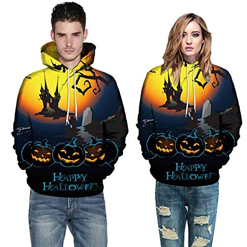 Makeupstore Halloween Costumes Boys??,Men Women Mode 3D Print Long Sleeve Halloween Couples Hoodies Top Blouse 4XL,Women's Petite Athletic Sweaters,Yellow,4XL