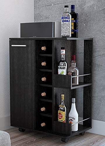 TUHOME Mobile Bar Cart, Service Cart W/ 6 Bottle Rack 2 Open Shelves and 1 Cabinet W/ 2 Shelves and a Spacious Top Surface by TUHOME