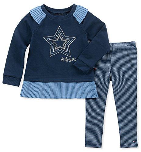 Tommy Hilfiger Girls' Little 2 Pieces Tunic Pants Set, Flag Blue, 5