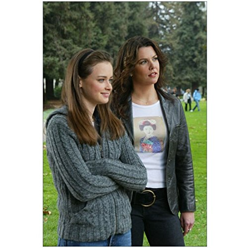 - Gilmore Girls Lauren Graham as Lorelai Gilmore with Leather Jacket Standing with Alexis Bledel as Rory Gilmor in Gray Sweater and Jeans 8 x 10 Photo