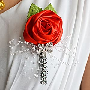 S_SSOY Boutonniere Bridegroom Groom Artificial Flower Corsage Men's Boutonniere Groomsmen Best Man Boutineer with Pin for Wedding Homecoming Prom Suit Decor 116