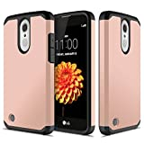 LG K20 Plus, LG K20 V, LG Harmony, LG Grace, LG K10 2017, ATUS – Hybrid Dual Layer Hard Cover TPU Case With HD Screen Protector (RoseGold/Black)