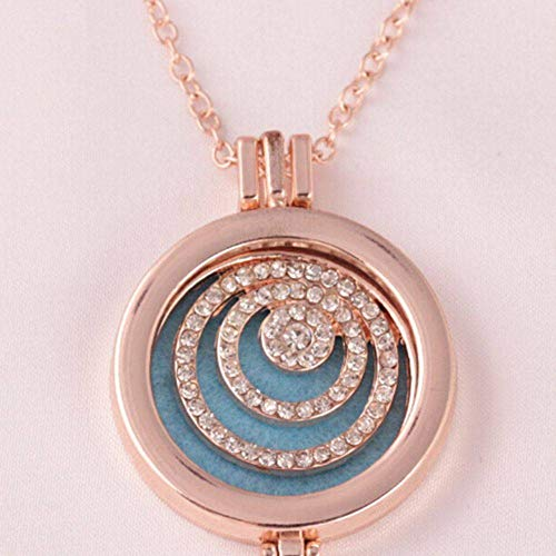 (Moobpaa13 Vintage Perfume Essential Oil Diffuser Necklace Flowers Blue Heart Chain Women)