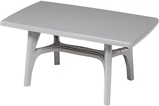 Mesa rectangular para exterior, Mesa Resina 150 x 90, mesa gris claro para jardín: Amazon.es: Hogar