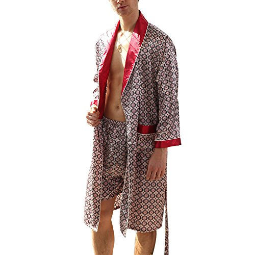 - Yesky Men's Satin Robe Silk Spa Long Sleeve Kimono Bathrobe Classic Satin Sleepwear