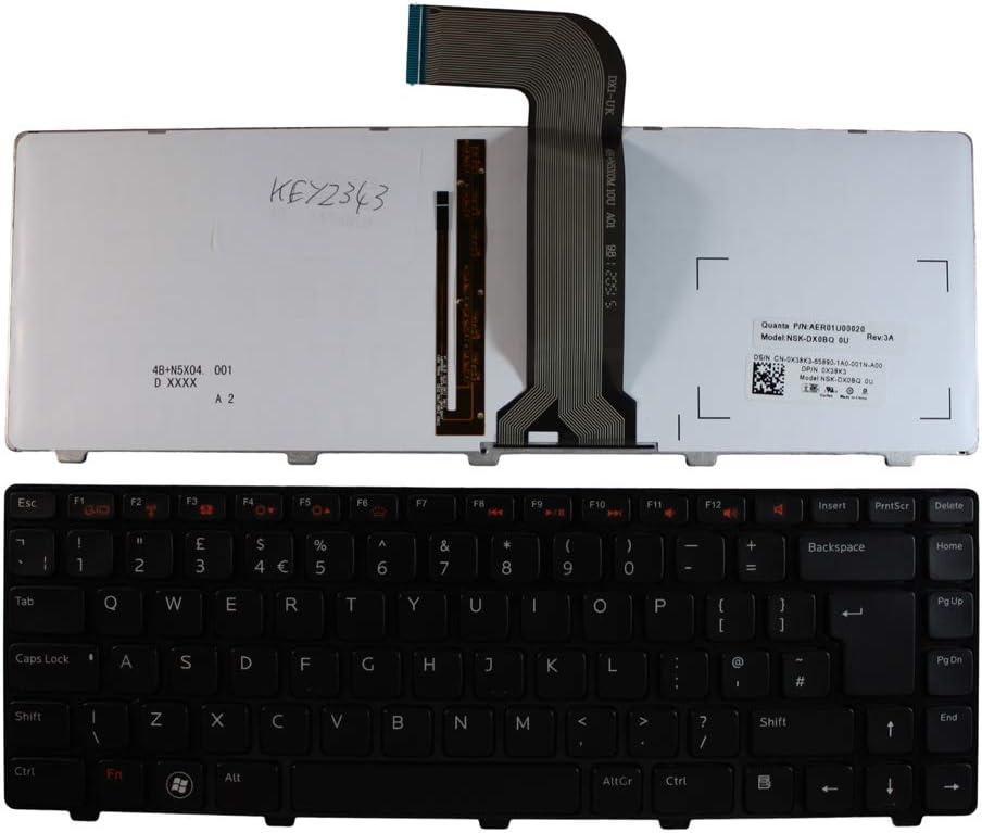 Dell Inspiron M4110 Dell Inspiron M5050 Keyboards4Laptops UK Layout Black Frame Backlit Black Laptop Keyboard Compatible with Dell Inspiron M4040 Dell Inspiron M5040 Dell Inspiron N4050