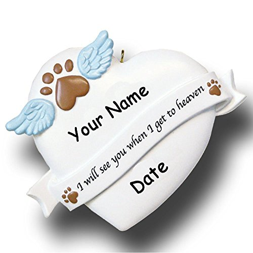 Personalized Pet Remembrance Memorial Christmas Ornament with Paw Print Angel Wings Dog Cat - Free Custom Name and Date (Dog Ornament Christmas Personalized)