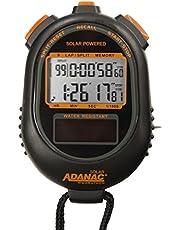 Marathon Adanac - Cronómetro solar de doble potencia, pantalla de memoria de recuperación de vueltas y divisiones, resistente al agua y al polvo y a los golpes, para profesores, fitness y entrenadores deportivos