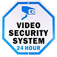 Aluminum Sign for Home Business Security, KinHom Legend Video Security System 24 Hour with Graphic, 10 Tall Octagon, UV Protected & Waterproof Surveillance Symbol Black/Blue on White