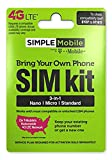 Simple Mobile Micro SIM Card with $50 Month Unlimited Everything Plan. Dual Cut / Micro / Mini 4G LTE SIM Prefunded Preloaded Activation Kit($50 Monthly Plan)