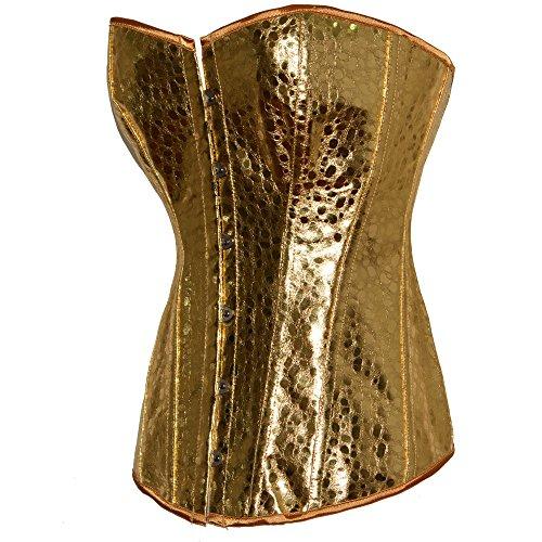 ZAMME Corsé de Steampunk de la falda del gótico de las mujeres de Overbust de la cintura Bustiers de la cintura Dorado