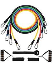 Exercise Resistance Bands Set 5pcs Strength Training Fitness Tubes Tension Bands with Handles, Door Anchor, Ankle Straps, Carry Bag, Workout Guides and Band Guard Equipment for Men and Women