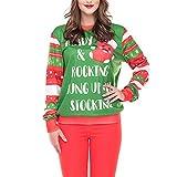 Sttech1 Women Long Sleeve Letter 3D Printing Sweatshirt Pullover Top Christmas Needed