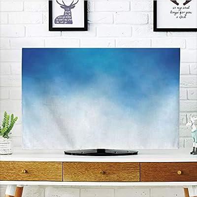 Cubierta de polvo para televisor LCD, azul, diseño retro, círculos dibujados a mano, redondos, celdas de color pintadas con burbujas, azulejo de estilo grueso, azul ...