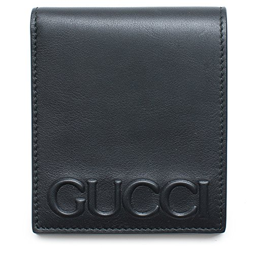 Gucci XL Embossed Black Wallet Bifold Leather Mens Gift Xmas Italy New Box