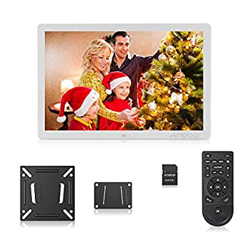 Image of Andoer Digital Photo Picture Frame 17 Inch LED Digital Frame High-Resolution Digital Photo Album 1080P with Remote Control(White) Storage & Presentation Materials