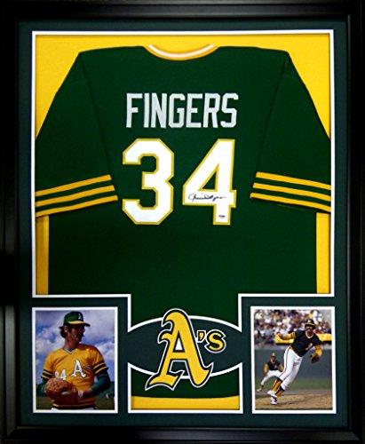 Rollie Fingers Oakland Athletics Signed Autograph Custom Framed Jersey PSA/DNA Certified