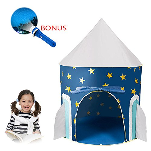 Space Rocket Ship Play Tent, with Outer Space Torch Projector ,Foldable Pop Up Kids Tent for Indoor & Outdoor By Tomatep (Tent with Torch)