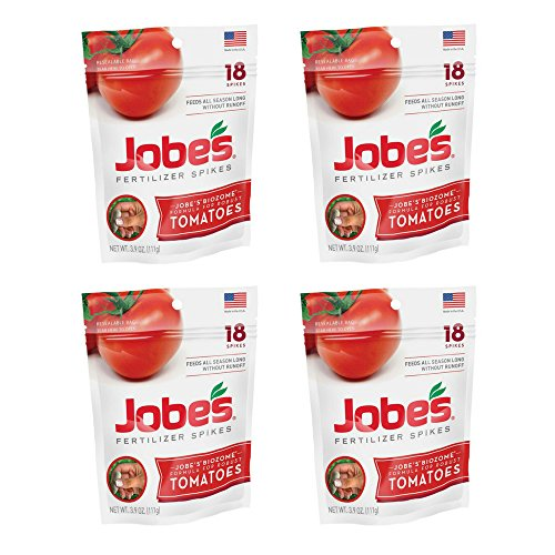 - Jobe's Tomato Fertilizer Spikes, 6-18-6 Time Release Fertilizer for All Tomato Plants, 18 Spikes per Resealable Waterproof Pouch (4, 18-Spikes per Package)