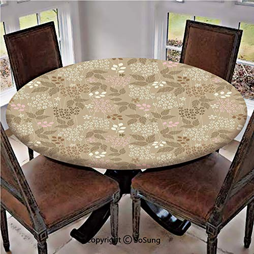 Elastic Edged Polyester Fitted Table Cover,Vintage Leaves Daisy Silhouettes Ornate Environment Elements Romantic Pattern Decorative,Fits up 45