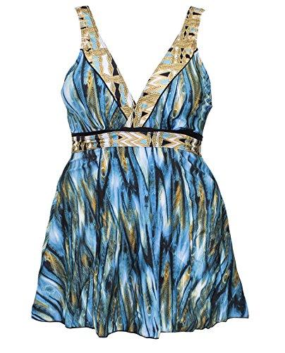 SAY Styles All Yours Womens Trendy Plus Size Lattice Flounce Bikini Set Fashion Flounce One-Piece Swimsuit (Blue Swimdress, 3XL) by SAY