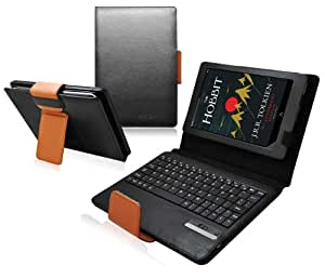 Ionic Bluetooth Keyboard Tablet Stand Leather Case for New Barnes & Noble Nook HD+ 9-inch Wifi (Black/ Brown)[Does not fit Nook Tablet]