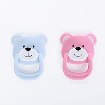 Magnetic Pacifier Dummy For Reborn Baby Dolls 2pcs Pink + Blue - Happy Bear  and Lovely