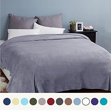 Flannel Fleece Luxury Blanket Grey Queen Size Lightweight Cozy Plush Microfiber Solid Blanket by Bedsure