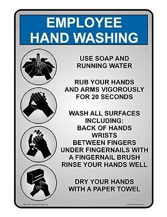 Compliancesigns Plastic Employee Wash Hands Sign 10 X 7
