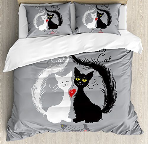 Ambesonne Cat Duvet Cover Set Queen Size, Pair of Cats in Love Having Eaten Fish Red Heart Romantic Black and White Kitties, Decorative 3 Piece Bedding Set with 2 Pillow Shams, Grey Black