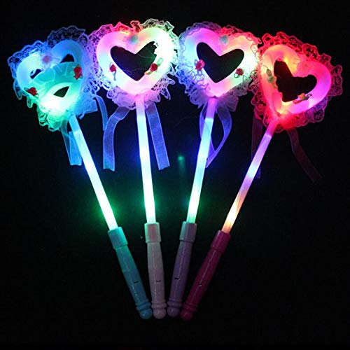 GshoppingLife 2019 Fashion Kids LED Light-Up Love Heart Shaped Stick Cute Fairy Light Magic Wand Sticks Kids Girls Toys ( 5 -