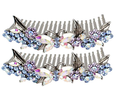 Price comparison product image Janefashions 2Pcs Floral Butterfly Blue Austrian Rhinestone Cystal Hair Side Combs Tiara B133