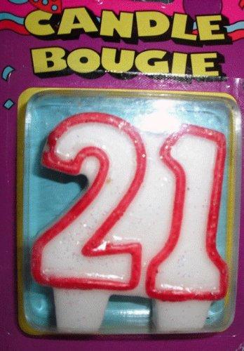 Amazon Unique White And Red Molded Number Twenty One Birthday