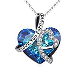 "Sterling Silver ""I Love You Forever"" Heart Pendant Necklace with Birthstone Crystals, Birthday Wedding Anniversary Jewellery Gifts for Her Women Wife Mum Girlfriend Health and Household"