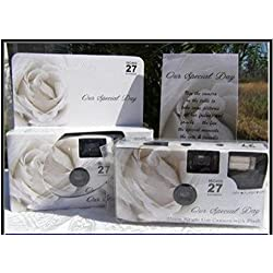 5 Pack Soft White Rose Wedding Disposable 35mm Cameras In Matching Gift Boxes- 27 Exposures Each- With Matching Table Tents