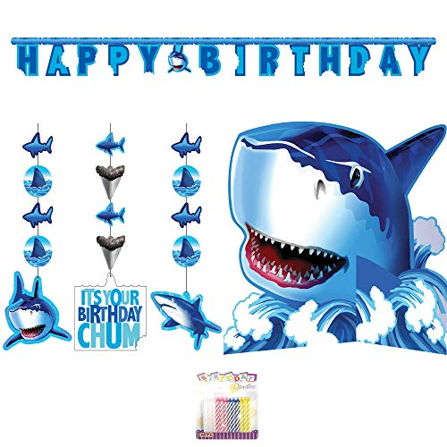 Shark Splash Party Decoration Supplies Pack: Honeycomb Centerpiece, Shaped Ribbon Banner, Shark Hanging String Decorations 3ct, and Birthday Candles (Deluxe Bundle) -