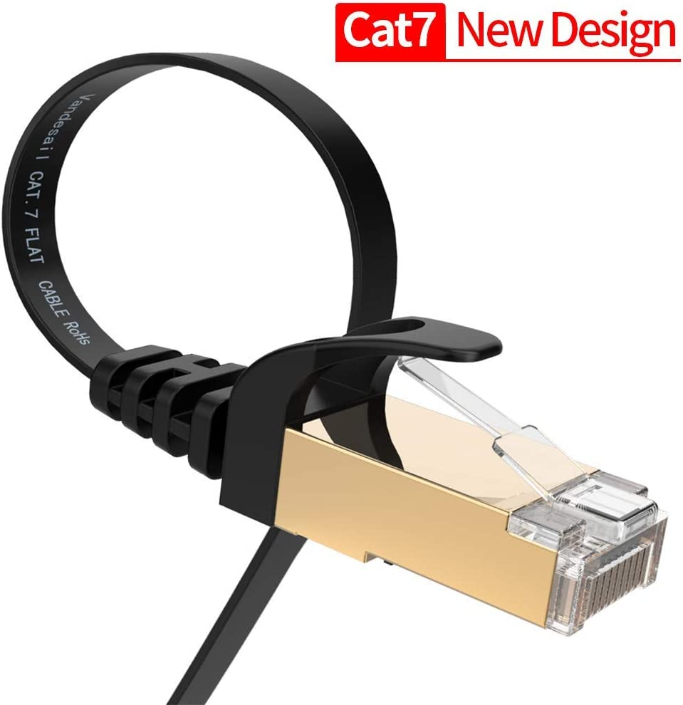 Ethernet Cable, VANDESAIL Cat 7 Ethenet Network Cable, Internet Cord with RJ45 Connectors Black 6.5 ft & 3 ft