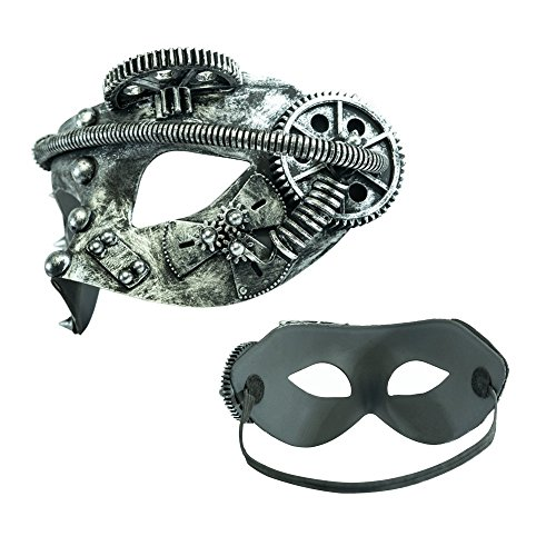 Giant Hippo Toy Co. Steampunk Mechanical Masquerade Mask for Men - Perfect for Halloween/Mardi Gras/Cosplay - Costume Accessory (Silver Gearhead) ()