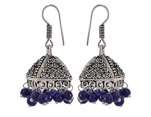 It/'s a Black Color Beadss Silver style Jhumki Earrings for Women /& Girls