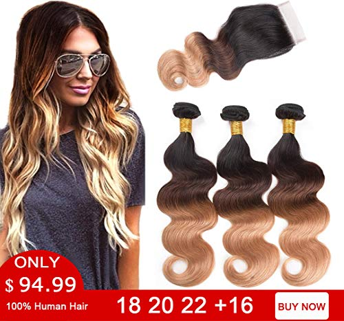 Ombre Brazilian Hair Bundles with Closure Body Wave 3 Bundles 10A Ombre Bundles of Brazilian Hair with Lace Closure Free Part (18 20 22 with 16 Inch Closure, 1B#/4#/27#)