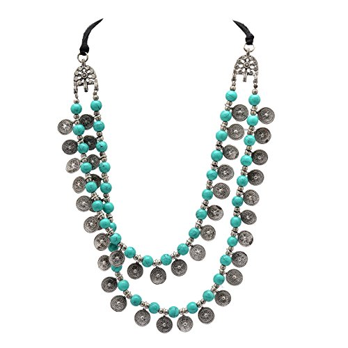 Zephyrr Fashion Jewellery Necklace German Silver Multi Strand Glass Beaded Coin Design for Girls and ()