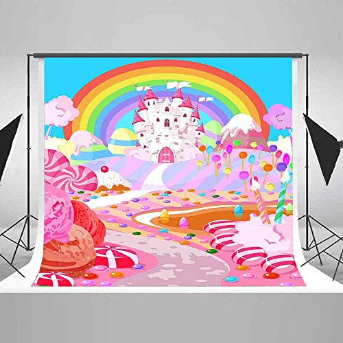 10x10ft Cartoon Candy Castle Backdrop Baby Shower Candyland Birthday Party Fantasy Rainbow Photography Background EARVO Cotton Backdrop Photo Shoot Props EAGE126]()
