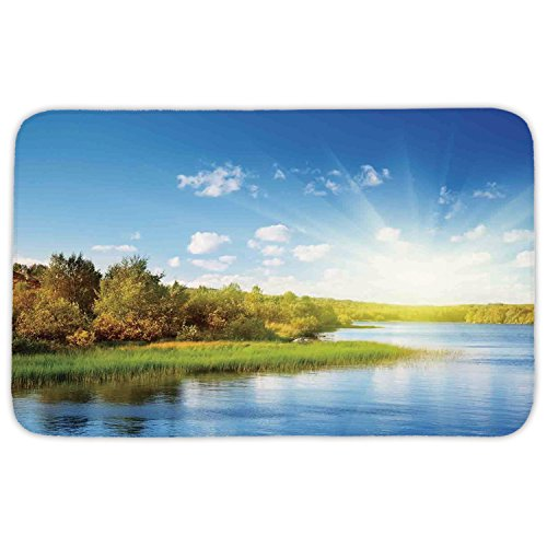Rectangular Area Rug Mat Rug,Lake House Decor,Photo of a Lake with Horizon in Northern Mountains Exploring Earth Miracles Art,Green Blue White,Home Decor Mat with Non Slip Backing by iPrint